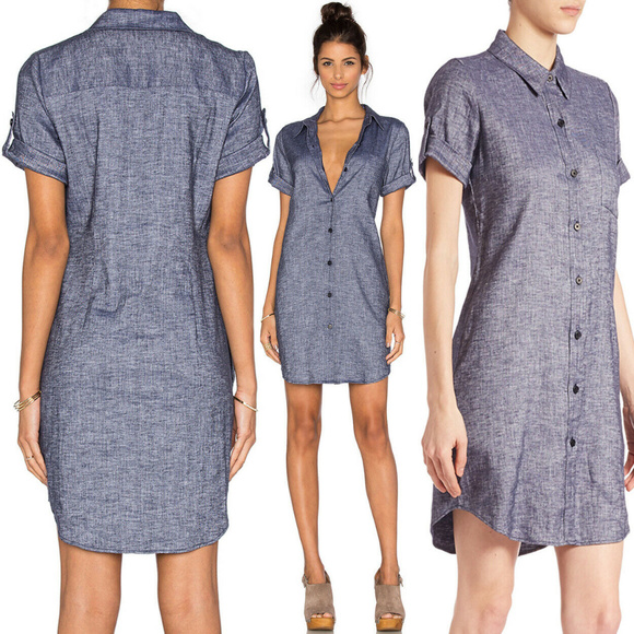 7e148a92 Theory Dresses | Mayvine Shirt Dress Linen Chambray Shift 2 | Poshmark